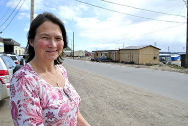 Lieve Halsberghe of Louvain, Belgium played a big part in the struggle to bring fugitive priest Father Eric Dejaeger back to Nunavut. Last week, Halsberghe visited Nunavut for the first time. (PHOTO BY JIM BELL)