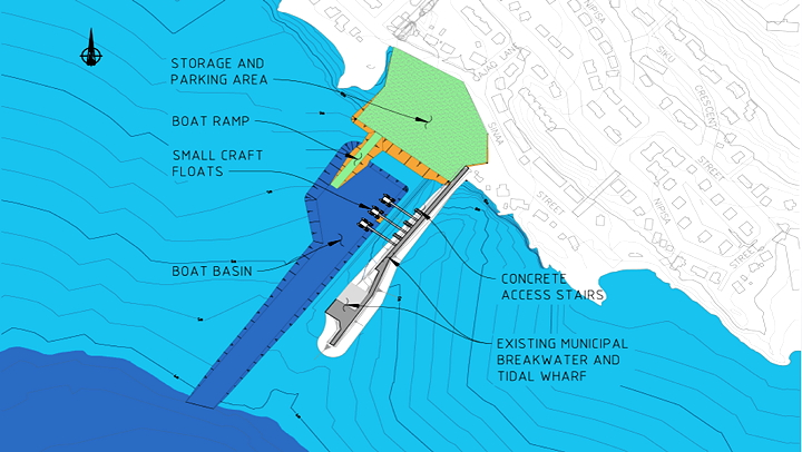 Improvements to the small craft harbour in Iqaluit, shown in this image, include a deeper boat basin, shown in dark blue, to allow recreational boaters easier access to the sea, and construction of a new parking area, boat ramp, and small craft floats. (IMAGE FROM THE GOVERNMENT OF NUNAVUT)