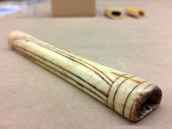 This Inuit needle case is made of bone, and is labelled as coming from the central Arctic. (PHOTO BY KRISTA ULUJUK ZAWADSKI/COLLECTION OF THE MANITOBA MUSEUM, WINNIPEG)