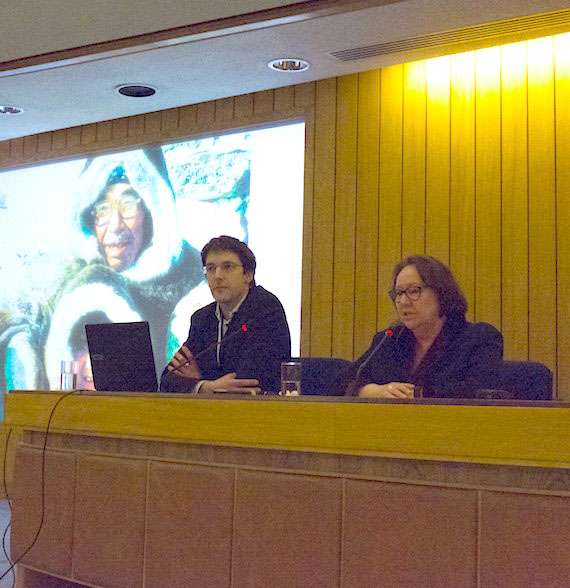 Sheila Watt-Cloutier, right, speaks on Tuesday at an event in London organized by the the Clean Arctic Alliance as a side event at this past week's meeting of the International Maritime Organization, called the Climate Crisis: A Message from the Arctic.