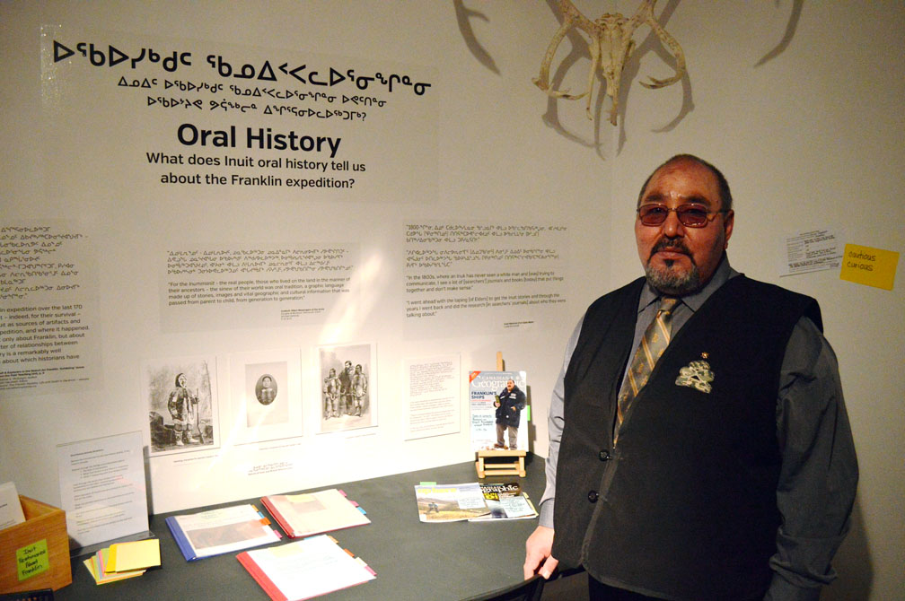 The renowned oral historian Louie Kamookak of Gjoa Haven at the Nunatta Sunakkutaangit Museum in Iqaluit on Jan. 19, 2017, when he gave a talk on Inuit knowledge of the Franklin expedition. He also announced the launch of Grade 8 curriculum materials on the Franklin expedition for use in Nunavut schools. (PHOTO BY STEVE DUCHARME)