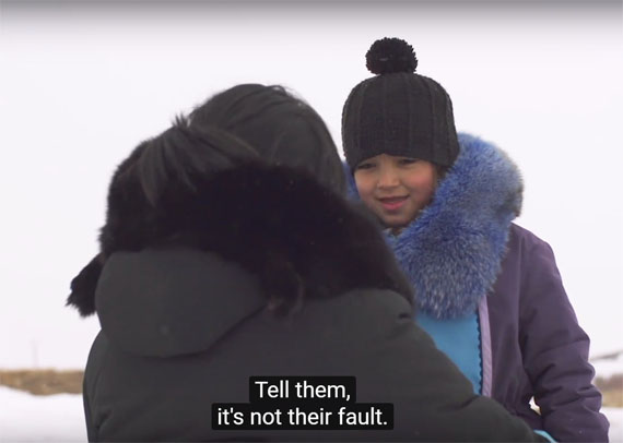 Pauktuutit's Believe-Ask-Connect campaign video, pictured here, encourages children to speak up about child sexual abuse and for adults to support and listen to them.