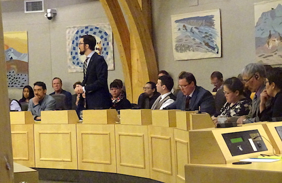 John Main, MLA for Arviat North-Whale Cove, rises in the Nunavut legislative assembly May 25 to question Premier Paul Quassa about the money spent by the Government of Nunavut to attend this year's Northern Lights Conference and Trade Show in Ottawa. (PHOTO BY JANE GEORGE)