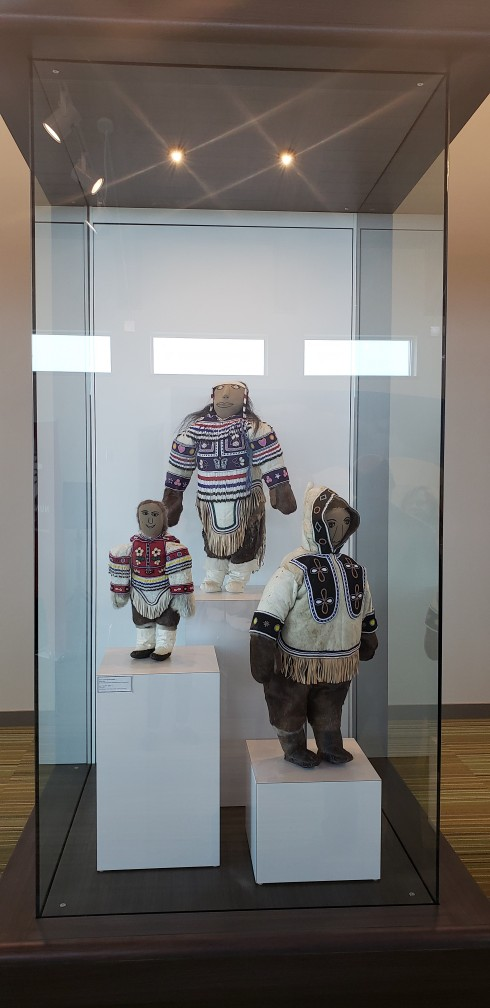Dolls by Rankin Inlet's Helen Iguptaq. There are seven display cases like this at the new Kivalliq Regional Visitor Centre. (PHOTO COURTESY OF THE GOVERNMENT OF NUNAVUT)