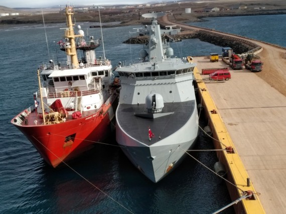 The Canadian Coast Guard's Samuel Risley sits alongside the Danish naval vessel HDMS Knud Rasmussen at the U.S. Air Force base in Thule, Greenland on July 28. This was the first Arctic operations assignment for the Samuel Risley, which is based in Parry Sound, Ontario. The ship helped provide icebreaking support to two commercial vessels resupplying Thule. The Samuel Risley later arrived in Iqaluit on Aug. 5 for a crew change and will remain in the eastern Arctic for search and rescue, community visits and buoy tending in Hudson Bay. (PHOTO COURTESY OF DFO)
