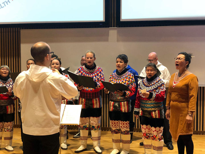 A Greenlandic choir helps open the International Congress on Circumpolar Health in Copenhagen Aug. 12, before an audience of health care providers and researchers from around the Arctic. (PHOTO BY JANE GEORGE)