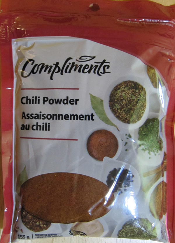 If you have a package of Compliments brand chili powder in your kitchen cupboard, you should throw it out. That's because it may be contaminated with the bacteria that causes salmonella. (FOOD INSPECTION AGENCY OF CANADA)