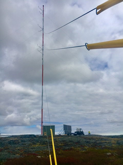 This 50-metre-tall meteorological tower was erected four kilometres west Rankin Inlet last month. For the next year, it will collect wind and solar data to help demonstrate the feasibility of a wind turbine project proposed by Northern Energy Capital. (IMAGE COURTESY OF NORTHERN ENERGY CAPITAL)
