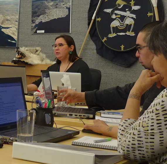 Cambridge Bay's mayor, Pamela Gross, talks to officials in Yellowknife during a teleconference about the MTS barge that was cancelled on Oct. 1. (PHOTO BY JANE GEORGE)