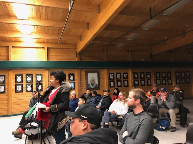 Cynthia Ene from the Kitikmeot Chamber of Commerce stands during the Oct. 15 meeting on the cancelled barge into Cambridge Bay to remind the GNWT about the big economic impact of the cancellation on the Northwest Territories and Nunavut. (PHOTO BY JANE GEORGE)