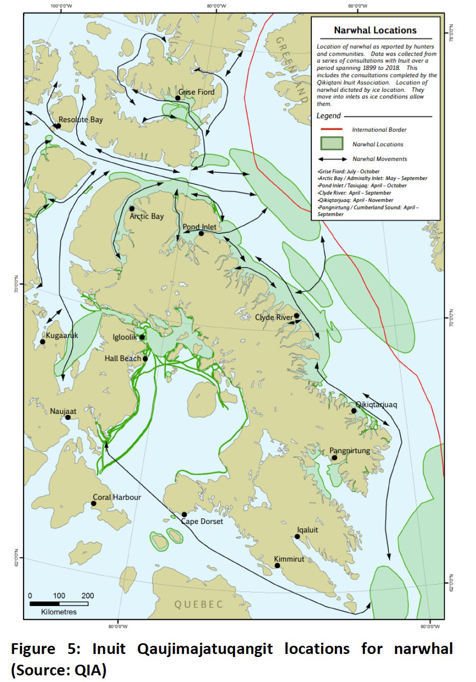 This map shows an example of the type of Inuit Qaujimajatuqangit that Qikiqtani Inuit Association gathered for a preliminary findings report that is part of work towards a strategic environmental assessment of potential oil and gas development in Baffin Bay and Davis Strait. (QIA IMAGE)