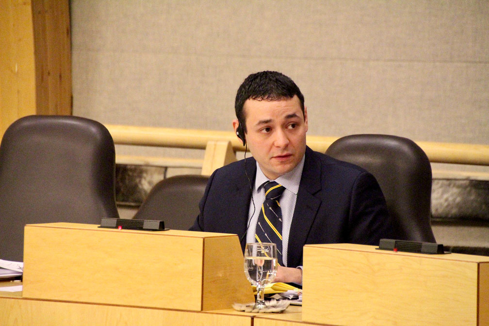 Iqaluit-Manirijak MLA Adam Lightstone at a meeting of the the standing committee on oversight of government operations and public accounts held Oct. 2. (PHOTO BY BETH BROWN)