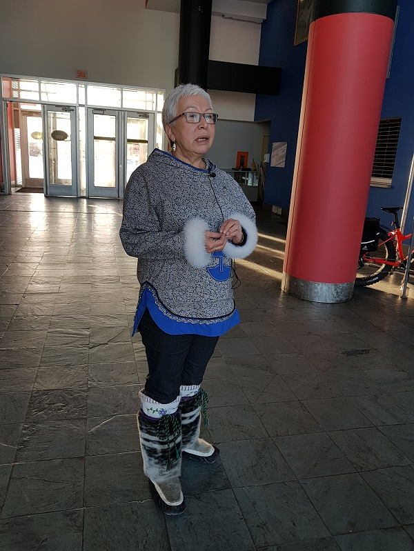 Minnie Grey, executive director of the Nunavik Regional Board of Health and Social Services, speaks to reporters outside Viens commission hearings on Nov. 23 at Kuujjuaq's Katittavik town hall. (PHOTO BY SARAH ROGERS)