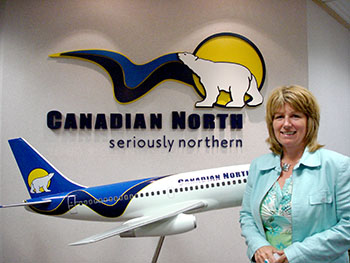 Kelly Kaylo, vice-president for passenger product and sales at Canadian North, hopes Nunavummiut traveling between Yellowknife and Edmonton will remain loyal to the airline. Canadian North serves many Nunavut communities and is 50 per cent owned by Nunavut Inuit through Nunasi Corp. The Yellownife-Edmonton route supplies the airline with up to 30 per cent of its revenue, but that's now threatened by competition from new players like Westjet. (PHOTO BY JANE GEORGE)