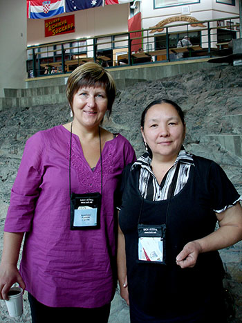 As Russia works towards linking all residents of its northern regions to the internet, online gambling will drain the resources and energy of even more indigenous people, says Dr. Larissa Abryutina (right), a Russian medical researcher and vice-president of the Russian Association of Indigenous Peoples of the North, who is originally from Chukotka. Svetlana Tumilty (left), who works in Iqaluit for the Government of Nunavut's finance department, interpreted for Abryutina during the International Congress for Circumpolar Health in Yelowknife, which wrapped up July 16.