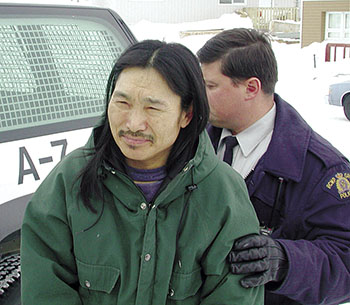 Convicted cop-killer Salamonie Jaw at an early court appearance in Iqaluit, shortly after he was charged with the 2001 murder of Cst. Jurgen Seewald. (FILE PHOTO)