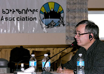 Nunavut Senator Dennis Patterson at the Qikiqtani Inuit Association's board meeting in Iqaluit Oct. 23. (PHOTO BY JIM BELL)