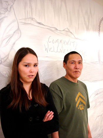 Like many in Cambridge Bay, Nick Panioyak and Demetra Panaktak, who work at the community's wellness centre, have no real home to call their own. But somehow the two manage to show up at work every day. (JANE GEORGE)