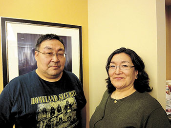 Timothy Sangoya and Lizzie Ningiuruvik, who work for Nunavik's Nunalituqait Ikajuqatigiitut wellness group, told KRG delegates meeting in Kuujjuaq this week that it's time to take action to curb drug and alcohol use in Nunavik. (PHOTO BY JANE GEORGE)
