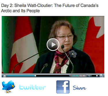 Sheila Watt-Cloutier speaking March 27 at the Canada 150 thinker's conference. (HARVESTED FROM WEBCAST)