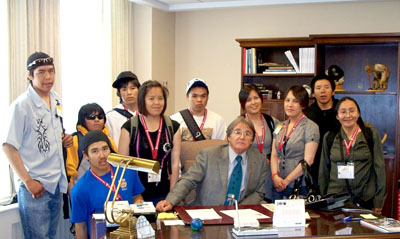 Students from Qikiqtarjuaq's Inuksuit School visited the Parliament Hill office of Senator Charlie Watt on May 28.