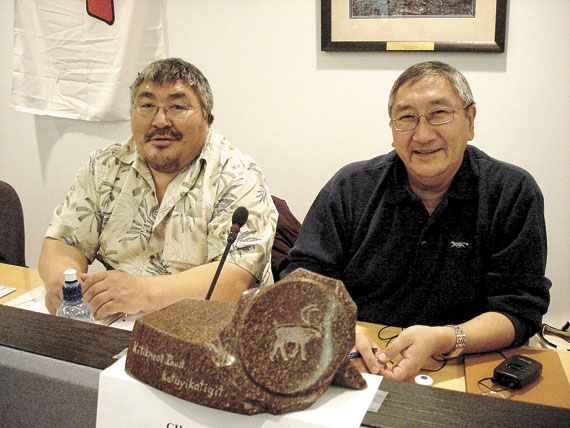 Charlie Evalik (right) said the Kitikmeot Inuit Association's board has asked for the resignation of their vice-president, Raymond Kayasark (left), who was charged with sexual assault related to an incident alleged to have occurred March 28 in Kugaaruk. (FILE PHOTO)