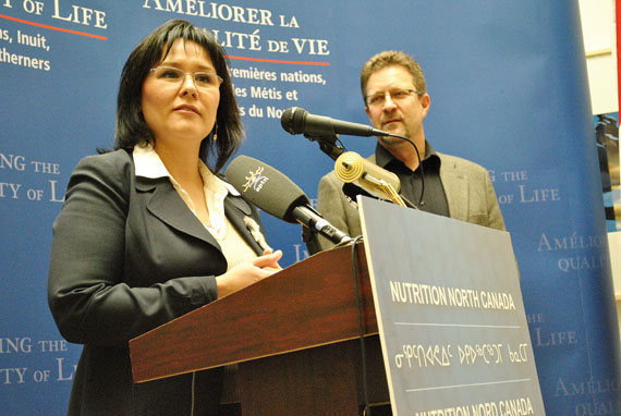 Leona Aglukkaq, the Nunavut MP and national health minister, told reporters May 21 that northern consumers believe the old food mail subsidy was not being passed on and that northerners deserve a better system to reduce the cost of nutritious food. (PHOTO BY JIM BELL)