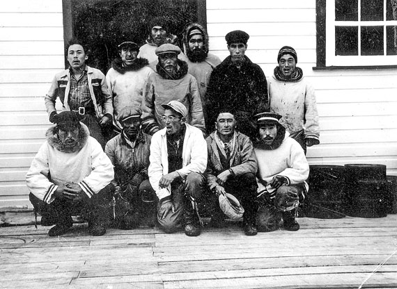Residents of Port Burwell, 1949, Henry Angnatuk, Hannah Jararuse, Bobby Annahatak, Laura Assevik, Tommy Assevik, Levina Aquppivik, Emily Arngatuk. (COLLECTION OF CORPORAL C.K. MCLEAN, COURTESY OF AVATAQ CULTURAL INSTITUTE)