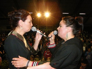 Nunavik throat-singers Akinisie Sivuaraapik and Sylvia Cloutier perform June 29 after the Inuit Circumpolar Council's Inuit food festival (PHOTO BY VICTORIA SIMIGAQ)