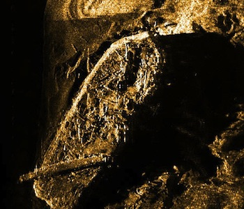 This is how the Investigator, a ship which has been under water for more than 150 years, looks in a sonar image, caught by Parks Canada archeologists off Banks Island in Aulavik National Park. (COURTESY OF PARKS CANADA)