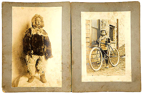 A very young Minik Wallace dressed in fur clothes (left) and with his bicycle (right.)