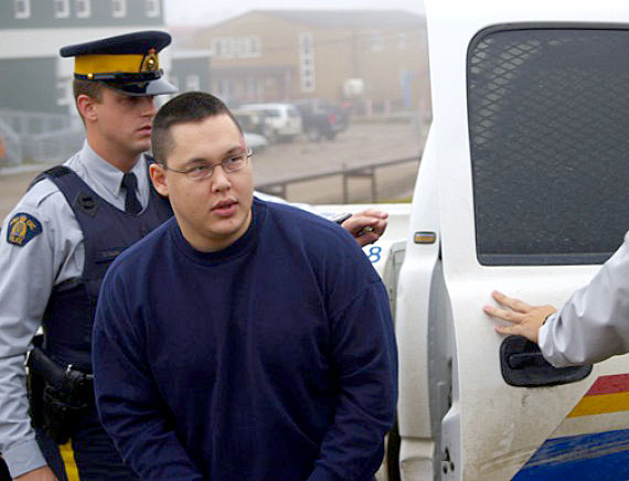 Chris Bishop enters the Iqaluit courthouse Aug. 26 for the start of a sentencing hearing. Bishop was convicted in June of three counts of second-degree murder and two counts of attempted murder in connection with a January, 2007 shooting in Cambridge Bay. (PHOTO BY CHRIS WINDEYER)