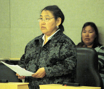 Jeannie Ugyuk, MLA for Nattilik, asked Hunter Tootoo, Nunavut's education minister, for more information on some of the education department's controversial policies during the Oct. 22 question period in the territorial legislature. (FILE PHOTO)