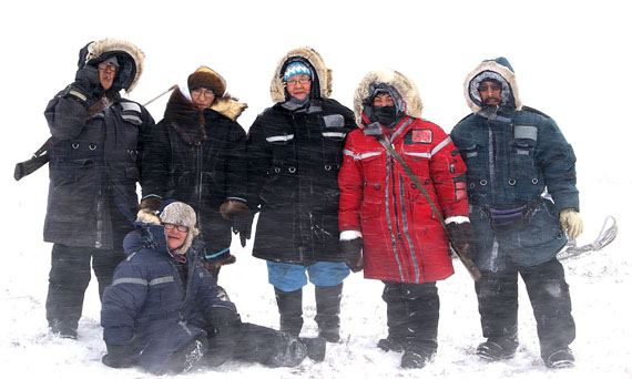 Snow, wind and cold temperatures did not stop Nancy Angulalik, Millie Angulalik, Eva Mingilgak, Christina Maksagak and Noanie Angulalik from going caribou hunting during the recent