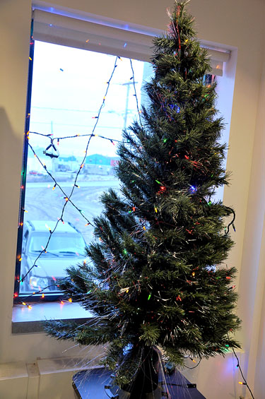 An artificial tree lights up the lobby of the Nunavik regional board of health and social services in Kuujjuaq in Dec. 2010. (PHOTO BY SARAH ROGERS)