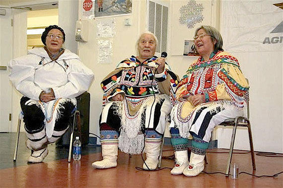 A trio of elders from Baker Lake was invited to entertain workers at Meadowbank during Christmas a couple of years ago. (PHOTO COURTESY OF MEADOWBANK)