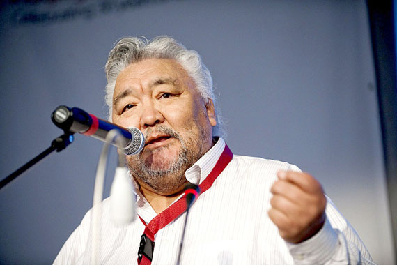 Jose Kusugak this past July 1 at the Inuit Circumpolar Council general assembly in Nuuk, delivering a personal message. Having been recently diagnosed with terminal bladder cancer, Kusugak urged all Inuit to get medical check-ups, and he asked all delegates to think of him and his battle with cancer. (PHOTO BY LEIFF JOSEFSEN, SERMITSIAQ)