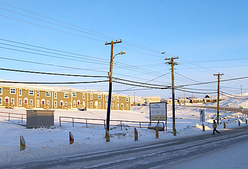 Part of Creekside Village is seen Jan. 27. Iqaluit city council nixed a proposed zoning bylaw amendment that could have seen two aparment buildings go up on land in front of existing development. (PHOTO BY CHRIS WINDEYER)