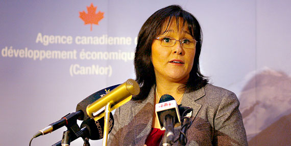 Leona Aglukkaq, Nunavut MP and federal health minister, speaks to reporters during a news conference in Iqaluit Jan. 14, 2011.  (PHOTO BY CHRIS WINDEYER)