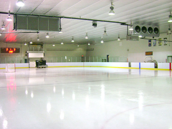 Puvirnituq was the second community in Nunavik to be fitted with eco-ice. The system works by pulling cold air from outside in, where evaporators stabilize the rink's temperature and humidity. (PHOTO COURTESY OF BEAUDIN LEPROHON)