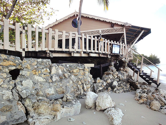 The power of water: here you can see what waves did to the Mullins restaurant in Barbados last year. The restaurant has since been rebuilt, but continues to be regularly hit by high waves.