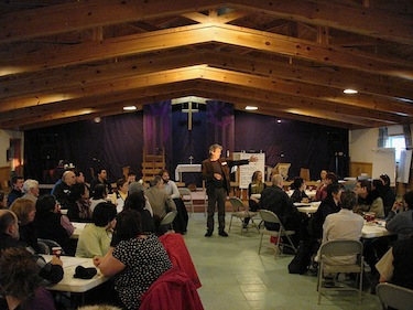 About 80 Iqaluit residents attended a March 30 workshop in the Anglican parish hall on how to reduce poverty in the city. (PHOTO BY JANE GEORGE)