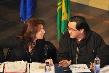 "Pita Aatami, pictured here with Quebec minister Nathalie Normandeau in March 2011, says a ""no"" vote will not stop Nunavik from seeking more autonomy. (PHOTO BY SARAH ROGERS)"