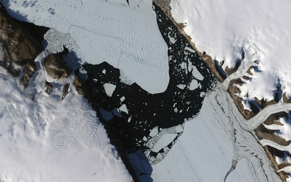 This NASA Earth Observatory image shows the ice island that calved off the Petermann Glacier in northwestern Greenland on August 5, 2010.