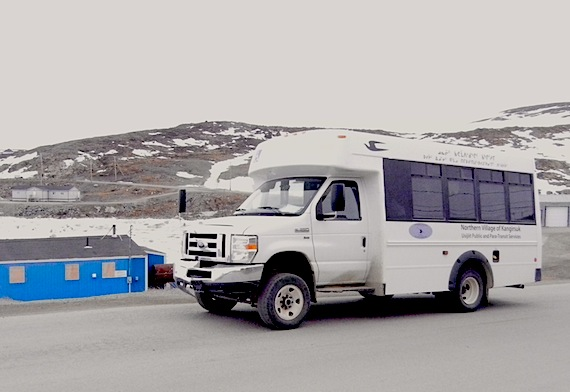 This small white bus with the logo of the Northern Village of Kangirsuk travels the main road of this Ungava Bay community of 400 throughout the day and into the evening. Similar  buses, which are also adapted to take on passengers with limited mobility or in wheelchairs, can to be found in four other Nunavik communities, thanks to money from Quebec's