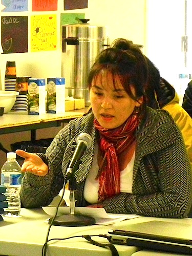 Lizzie Tukai tells the Kativik Regional Government councillors May 30 about her disillusionment with Saturviit, the Inuit Women's Association of Nunavik and her decision to resign as president of the organization. (PHOTO BY JANE GEORGE)