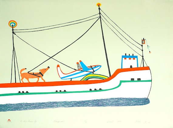May 21, at the Nunatta Sunakkutaangit Museum in Iqaluit, an exhibition and sale of works by the late Cape Dorset artist Pudlo Pudlat opened at 1 p.m.. Pudlat, who was born in 1916 at Kamadjuak Camp and died in 1992 in Cape Dorset, was a widely known artist whose works are in the collections of most Canadian museums. During his life, Pudlo produced more than 4000 drawings and 200 prints, some of which will be on display and for sale at the museum until June 19. (IMAGE/ NUNATTA SUNAKKUTAANGIT MUSEUM)