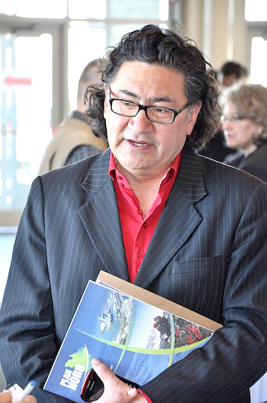 Romeo Saganash, the new NDP MP for Abitibi-James Bay-Nunavik-Eeyou, shown here at the May 9 launch of Plan Nord, said Plan Nord recognizes the importance of northern Quebec. (PHOTO BY DAVID BENOIT)