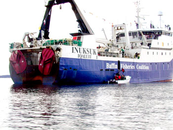 The Baffin Fisheries Coalition worries about the impact of seismic testing on its factory vessels like the Inuksuk. (FILE PHOTO)