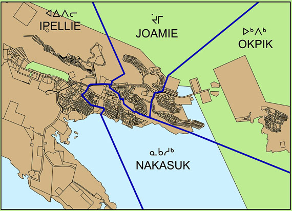 This map displays the new constituency names for Iqaluit that the 2011 Nunavut Electoral Boundaries Commission recommended in its report last month: Okpik, Nakasuk, Joamie and Ipellie. But Iqaluit City Council doesn't like those names. Instead, they want the four constituencies to be labelled Niaqunnguuti, Sinaaa, Tasirluq and Manirajaaq. (SOURCE: REPORT OF THE 2011 NUNAVUT ELECTORAL BOUNDARIES COMMISSION)